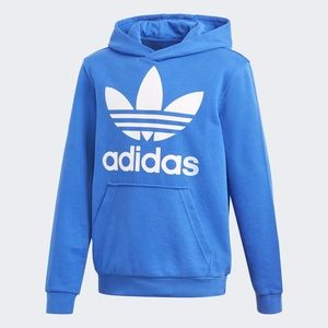 Adidas Trefoil Hoodie Blue White Youth L